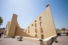 Astronomical observatory Jantar Mantar in Jaipur, Rajasthan, India - stock photo