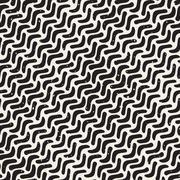 Vector Seamless Hand Drawn Daigonal Wavy Lines Grunge Pattern - stock illustration