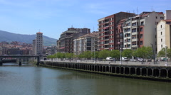 Riverside at morning in Bilbao, Spain Stock Footage