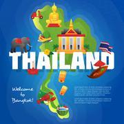 Thailand Cultural Symbols Flat Map Poster Stock Illustration