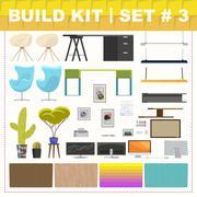 Build kit 3 office furniture - stock illustration