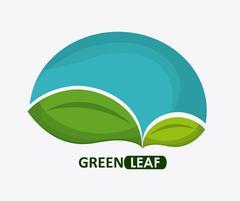 Green design. leaf icon. White background, graphic vector - stock illustration