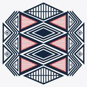 Tribal design. blue and red abstract figure. vector graphic - stock illustration