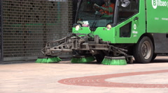 Street cleaner in the center of Bilbao Stock Footage