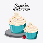 Decorated Cupcake. Sweet icon. vector graphic - stock illustration
