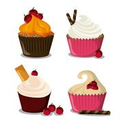 Decorated Cupcake. Sweet icon. vector graphic Stock Illustration
