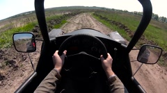 Rider drives the buggy first person view Stock Footage