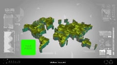 Fragments - Flipping 3d map - worldwide scan - graphic design - yellow - digi Stock Footage