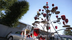 Champagne pyramid. The pile of champagne glasses Stock Footage