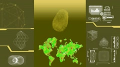 Global Research - white data - high tech display - scanning - yellow Stock Footage