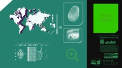 World Map scanning - 3d rotation - advanced scanning - information - green Stock Footage