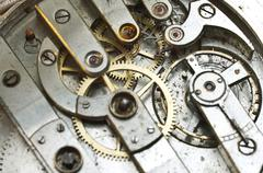 Cogwheels Inside Oldest Clockwork Macro Stock Photos
