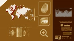 World Map scanning - 3d rotation - advanced scanning - information - yellow - Stock Footage