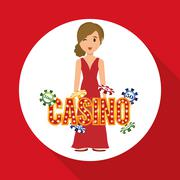 Casino design. Person and Game icon. Isolated illustration - stock illustration