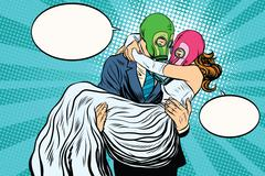 Radioactive Apocalypse wedding the bride and groom - stock illustration