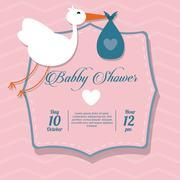Baby Shower design. stork  icon.  pink illustration, vector grap - stock illustration
