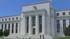 Steadicam shot of Washington DC's Federal Reserve - Money in America Stock Footage