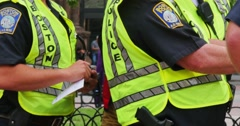 Boston City Police Monitoring a Public Event Near Copley Square Stock Footage