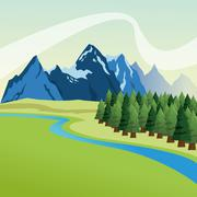 Landscape with pine trees and mountains design, Colorfull illust - stock illustration
