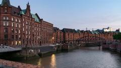 Timelapse of Hamburg Speicherstadt Hafencity Jungfernbruecke Bridge Stock Footage