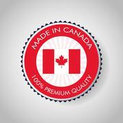 Canadas County design. Maple leaf icon. Seal stamp illustration - stock illustration
