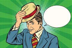 Hello polite gentleman raises his hat Stock Illustration