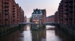Hamburg Speicherstadt Wasserschloss World Heritage Stock Footage