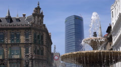 View of the iberdrola tower from Moya plaza Stock Footage