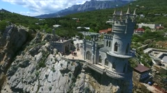 Aerial view of castle Swallow's Nest on the rock in the Black Sea Stock Footage