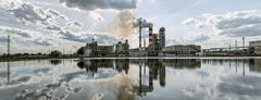 Panorama a refinery in a sunny day. - stock photo