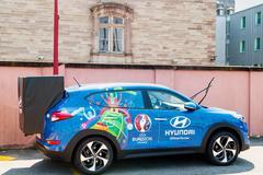 Hyundai Tucson, Official Partner car of UEFA trophy Stock Photos