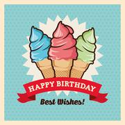 Happy Birthday design. Retro illustration. Colorfull graphic - stock illustration