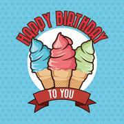 Happy Birthday design. ice cream icon. Colorfull graphic - stock illustration