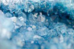 Blue crystals Agate SiO2. Macro Stock Photos