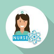 Medical care design. nurse  icon. White background, isolated ill - stock illustration