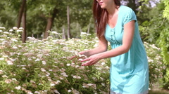 Happy young woman enjoying nature Stock Footage