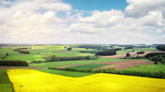 Aerial view of summer countryside with agricultural fields Stock Footage
