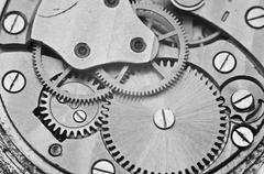 Black and white macro photo metal clockwork Stock Photos