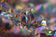Multi-coloured crystals macro Stock Photos