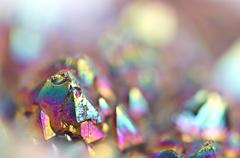 Multi-coloured crystals macro - stock photo