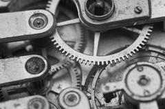 Black and white macro photo close-up view of metal clockwork Stock Photos