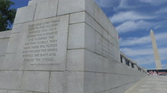 Roosevelt Quote on World War 2 Monument in Washington DC Stock Footage