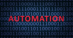 AUTOMATION word with binary numbers Stock Footage