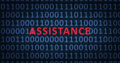 ASSISTANCE word with binary numbers - stock footage