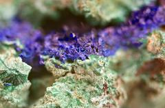 Green Malachite and Azurite Crystals deep blue copper mineral  Macro Stock Photos