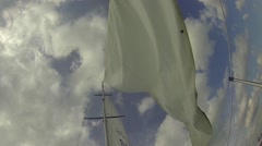 Powerful Wind Blows In The Yacht's Sail HD Stock Footage