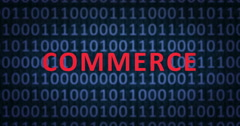 COMMERCE word with binary numbers - stock footage