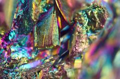 Thin layer of the titan on a quartz surface Macro Stock Photos