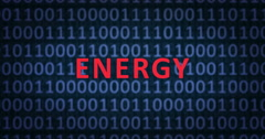 ENERGY word with binary numbers Stock Footage
