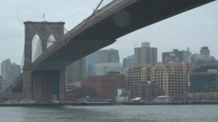 Overcast Brooklyn Bridge, New York Stock Footage
